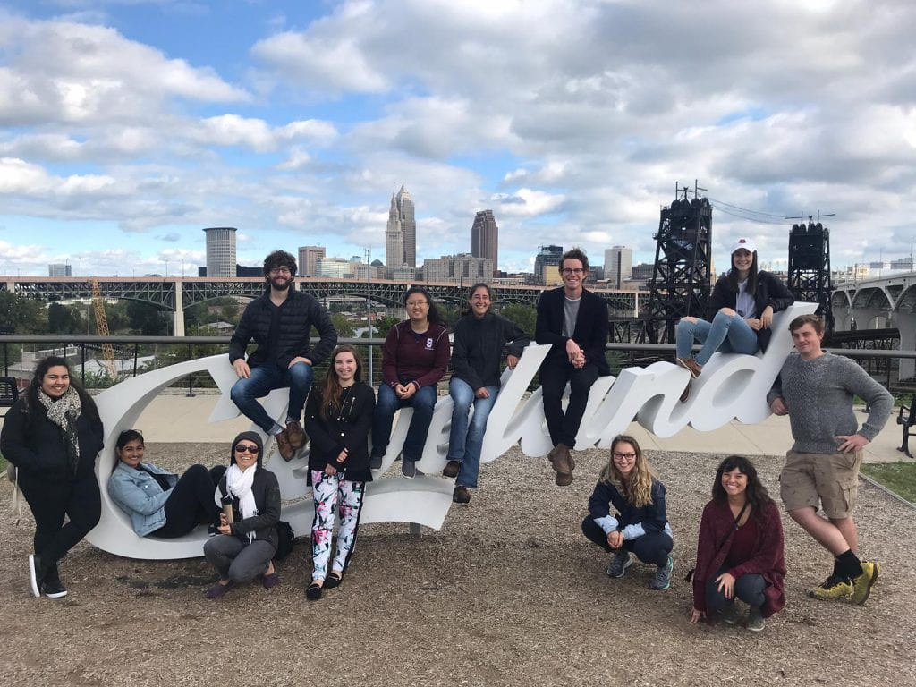 City and regional planning students pose during their trip to Cleveland, Ohio.   photo / Audrey Wachs (M.R.P. '20)