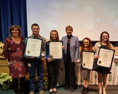 Four Suffield Agriscience alumni were recognized today for earning the National FFA Organization American Degree at a Forever Blue ceremony. Loved the opportunity to present citations to Conor Smith, Jessica LaRosa, Alex Ratti and Alexandra Greene. At left is Suffield Agriscience Director Laura LaFlamme. FFA is a wonderful program instilling leadership values.