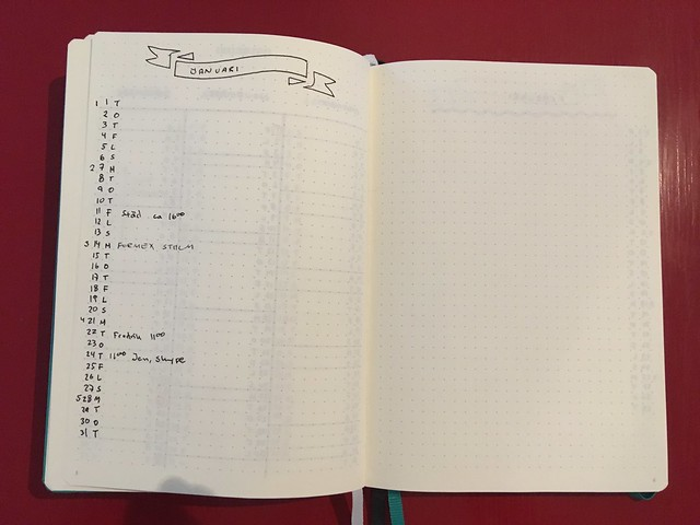 BuJo monthly spread 2019