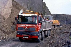 ergomammoth posted a photo:	Nicely liveried Foden Alpha 8-wheeled tipper of H.V Bowen & Sons (Transport) Ltd, seen at their quarry at Tan-Y-Foel, high-up in the Cambrian Mountains, being loaded by an O&K RH8 excavator. The Foden was new in September 2000 and last on-the-road in December 2015, since which it has been exported.