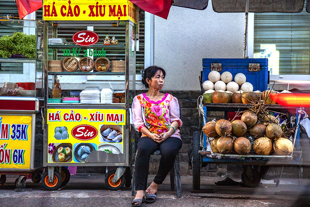 Woman selling dim sum and coconut juice--Saigon