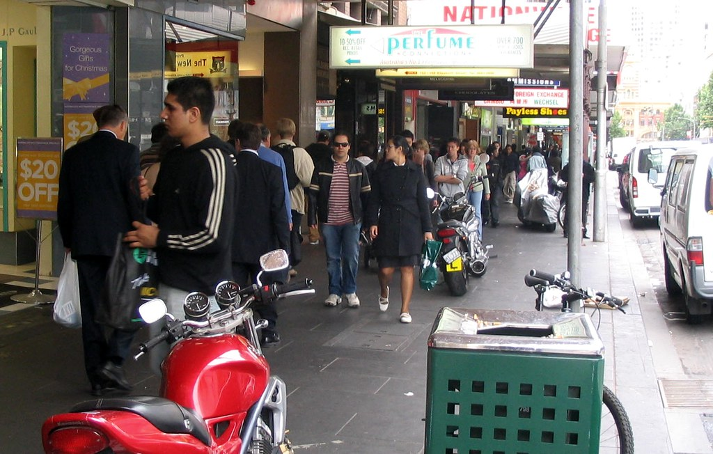 Motorcycles on the footpath, November 2008
