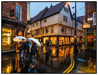 Bright lights in the rain, York.