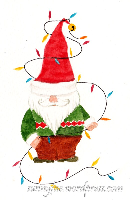 santa gnome watercolour