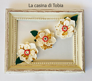 fiore asiatico feltro e cristalli Swarovski