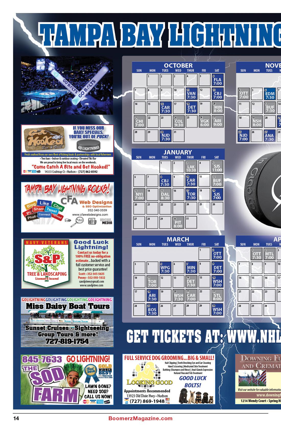 2018 October Boomerz Magazine Page 14 Tampa Bay Lighting Schedule