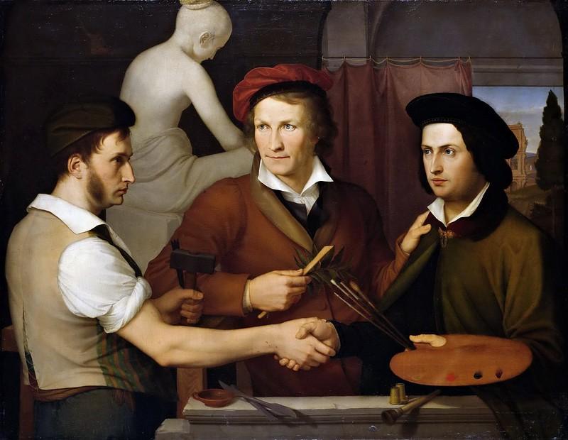 Friedrich Wilhelm Schadow - The Brothers Friedrich and Rudolph Schadow with the Sculptor Bertel Thorvaldsen (1815)