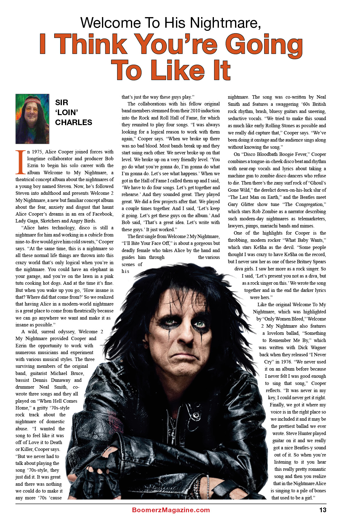 2018 October Boomerz Magazine Page 13 Alice Cooper Welcome to his Nightmare