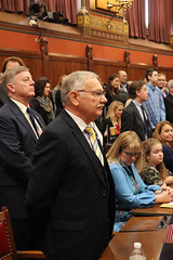 Rep. Simanski stands for the House Roll Call on the first day of the legislative session 1.9.19