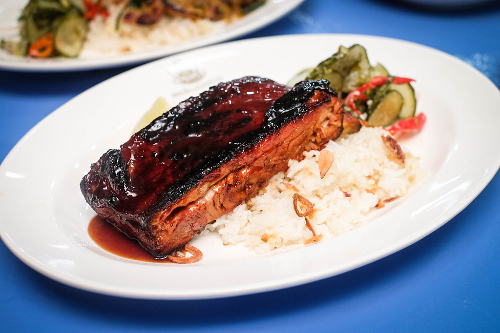 Meatsmith Smoked Cha Siew Ribs with Garlic Rice and Pickled Cucumber
