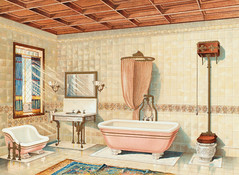 Vintage bathroom interior published in 1877-1893 by J.L. Mott Iron Works. Original from New York public library. Digitally enhanced by rawpixel.
