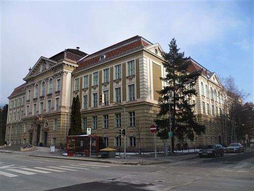 Leoben, Styria, state of Austria (the art of very historic university buildings of the Steiermark), Franz-Josef-Straße (Montanuniversität)