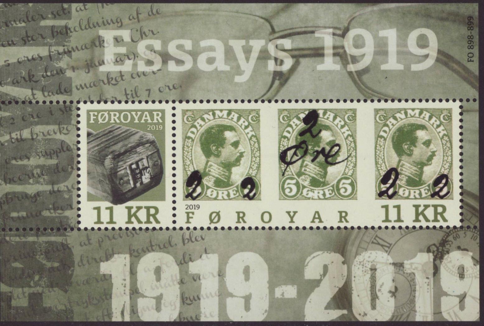 Faroe Islands - Provisional Stamps 1919 (January 11, 2019) miniature sheet of 2