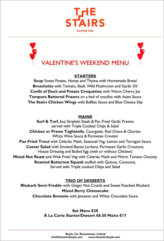 VALENTINES - The Stairs Gastro Pub Menu