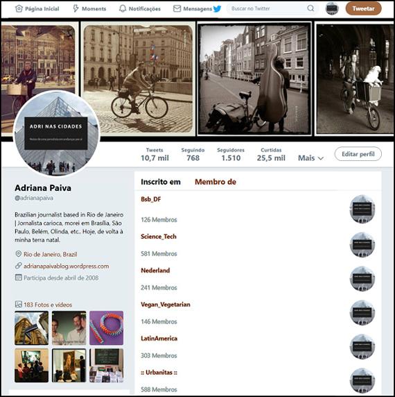 Perfil no Twitter da jornalista Adriana Paiva