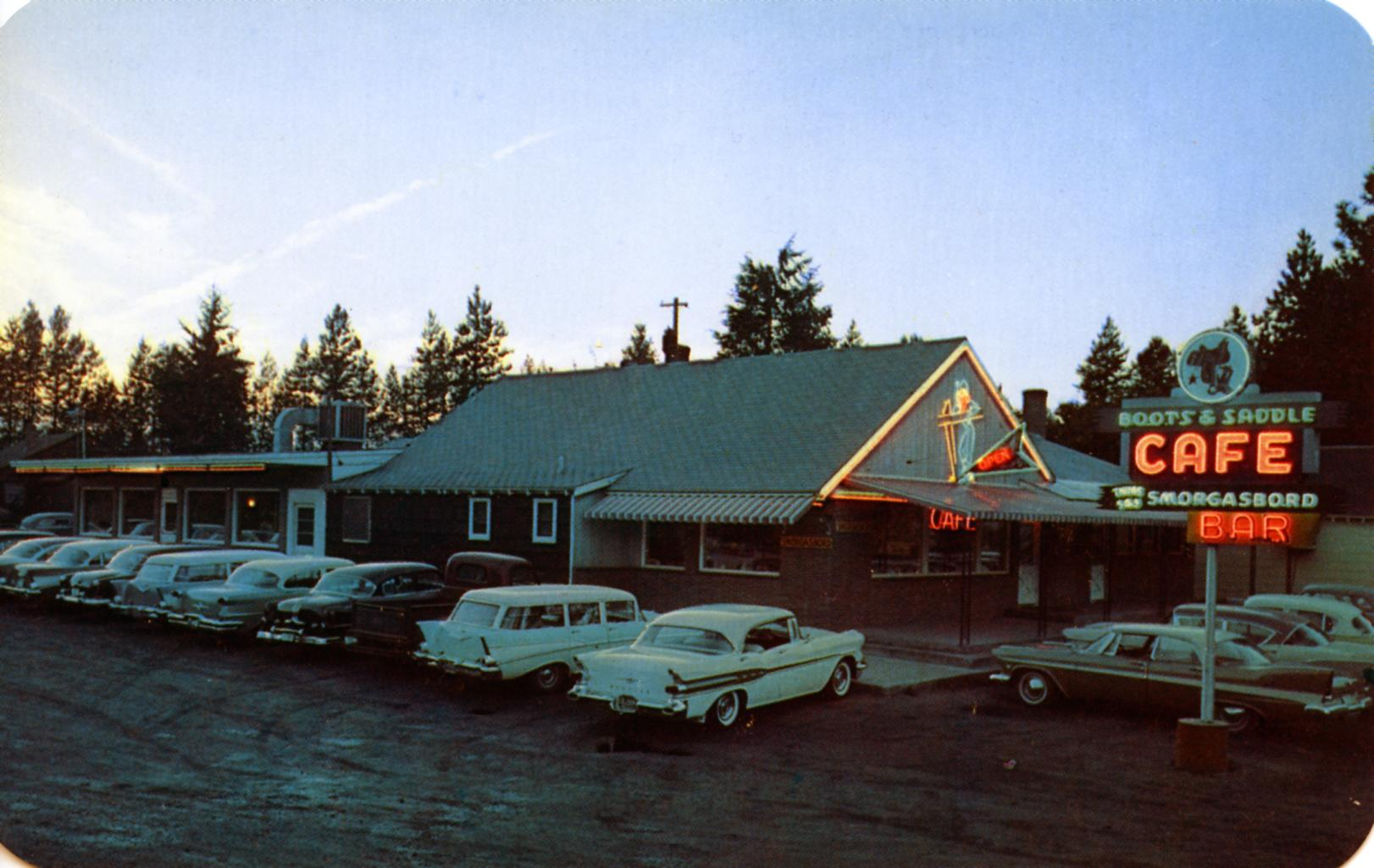 Boots and Saddle Cafe and Smorgasbord - Coeur d'Alene, Idaho U.S.A. - 1950's