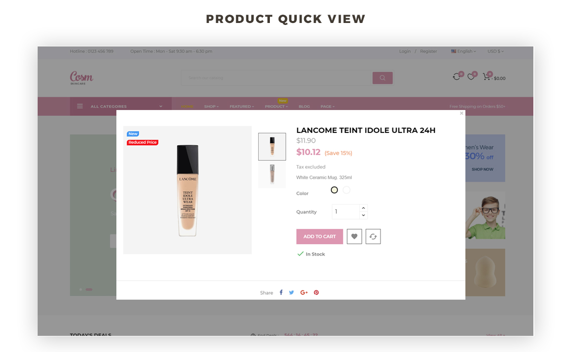product quick view - cosmetics and beauty store