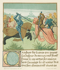 Vintage illustrations of Palamedes in the tournament of Soreloys and Lancelot and Tristan in the tournament at Louvezep published in 1890 by William Griggs (1832-1911). Original from New York public library. Digitally enhanced by rawpixel.