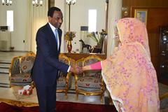 Arrivée du Représentant Pays de la BAD au Tchad, M. Lamine Ali Zeine, à l'audience accordée par la Première Dame du Tchad, Mme. Hinda Déby Itno, le 4 décembre 2018