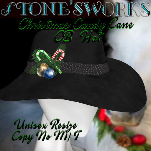 Christmas Candy Cane CB Hat Blk Stone's Works