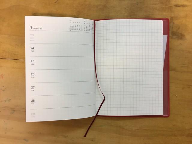 內頁,左週右記事@2019無印良品上質紙月週筆記本/A6紅色