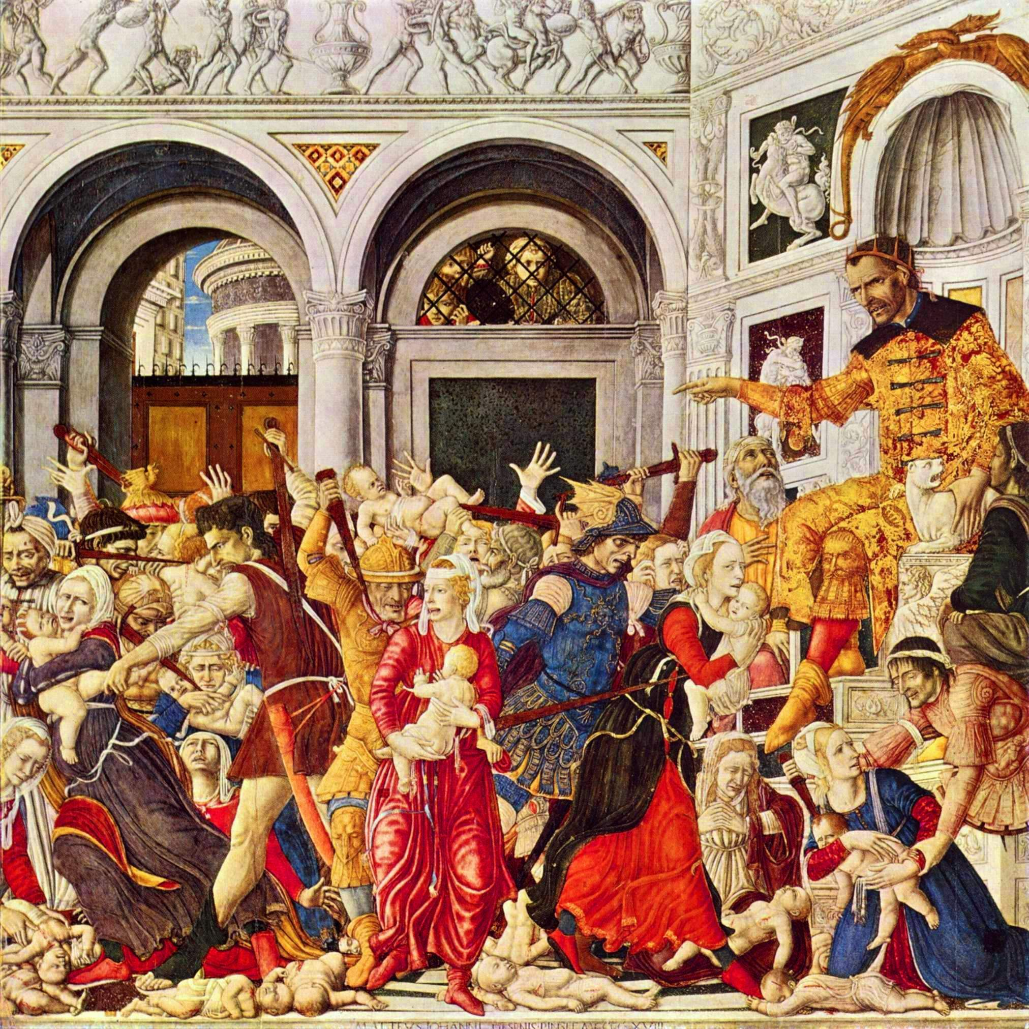 Massacre of the Innocents is a tempera on panel painting by Matteo di Giovanni, produced between 1450 and 1500, possibly in 1478, 1468 or 1488, probably in Siena. It was commissioned by Alfonso II of Naples, then living in Siena as part of the campaign against the Medici. It was probably produced to commemorate the inhabitants of Otranto killed by the Ottomans in 1480 whose relics were moved into the church of Santa Caterina at Formiello at Alfonso's request - the same church also originally housed the painting. It is now in the National Museum of Capodimonte, an art museum located in the Palace of Capodimonte, a grand Bourbon palazzo in Naples, Italy.