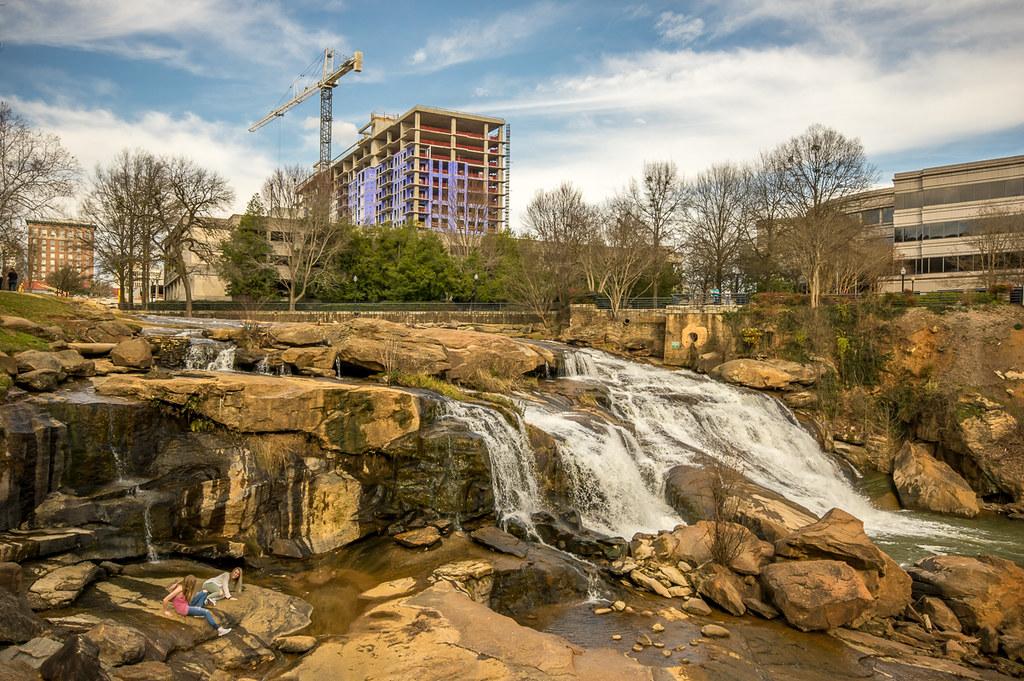 Downtown waterfalls