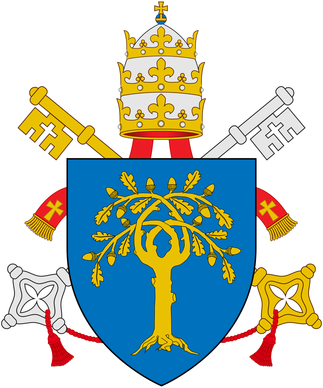 The della Rovere coat of arms, used by Sixtus IV (Francesco della Rovere, r. 1471–1484) and by his nephew Julius II (Giuliano della Rovere, r. 1503-1513), azure, an oak tree eradicated or, its four branches interlaced in saltire