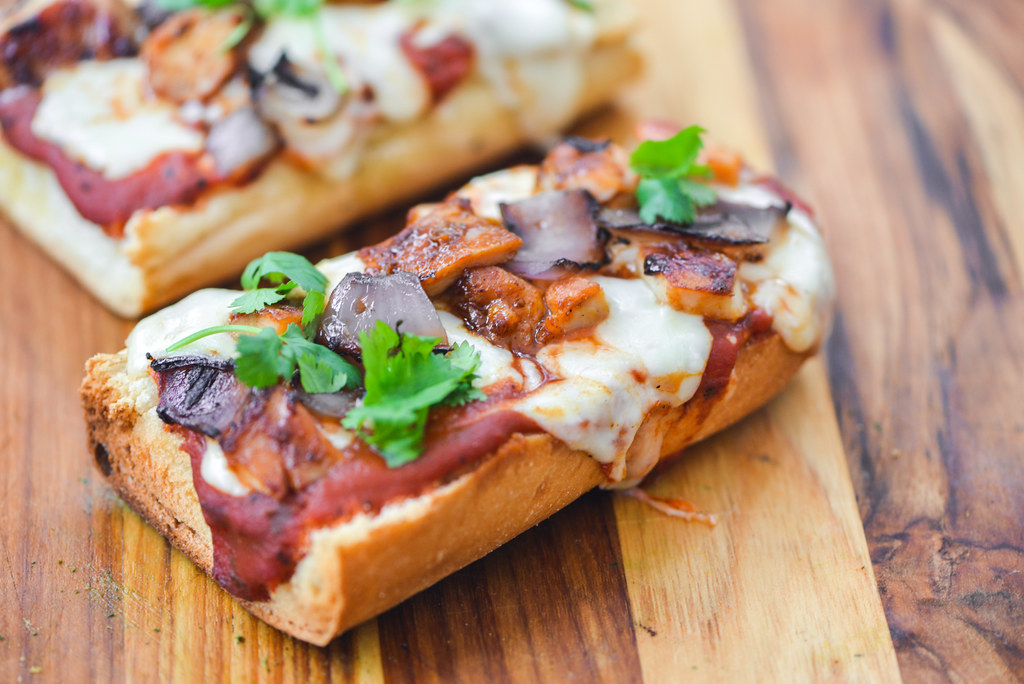Barbecue Chicken French Bread Pizzas