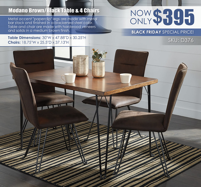 Modano Brown Black Table and Chairs Special_D376-MOOD-B