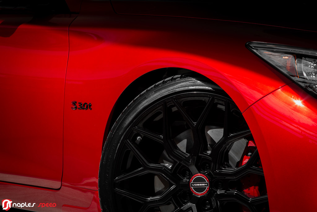 Infiniti Q50 Red Sport 400 on Vossen HF-2