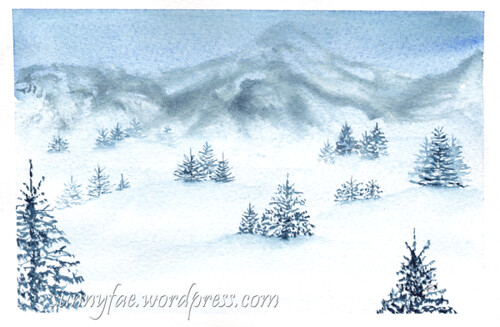 blue watercolour winter scene