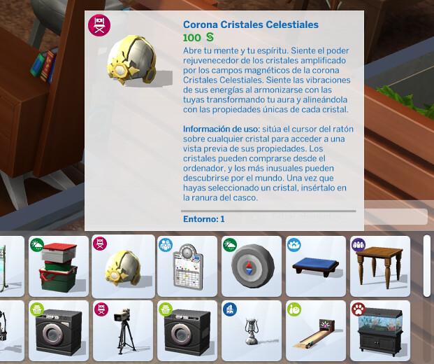 Corona Cristales Celestiales en Los Sims 4 - Catálogo
