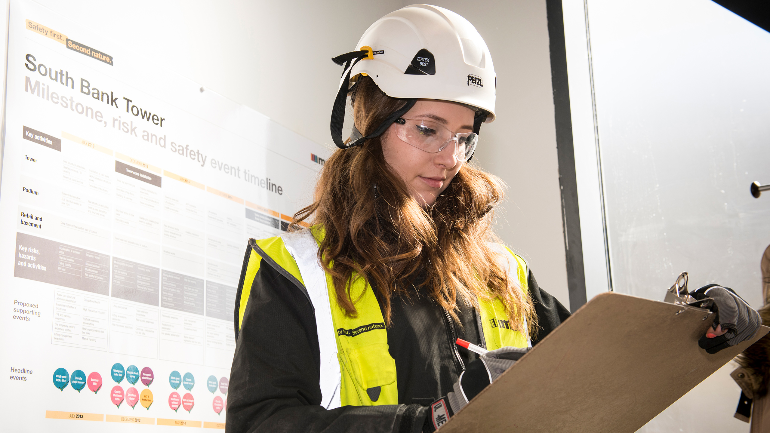Student in hard hat with clipboard, working at the South Bank Tower, London