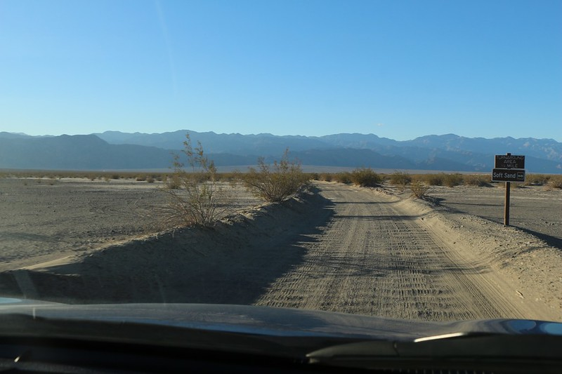 Heading west out of Stovepipe Wells on the flat sandy road to Cottonwood and Marble Canyons