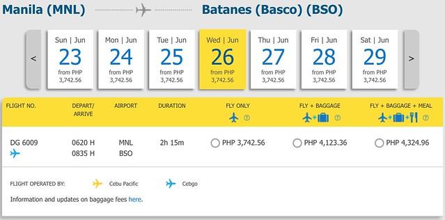 Manila to Batanes Cebu Pacific Year-round Fare