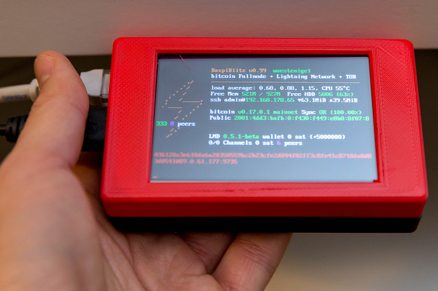 Raspberry Pi in a self-printed 3D printer case for Bitcoin Lightning