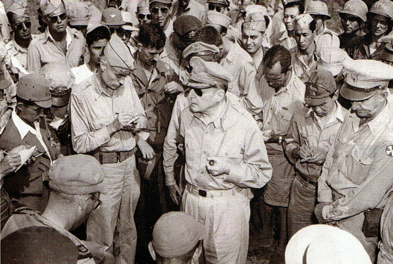 US Army General Douglas MacArthur Lands at Atsugi Airfield and talks to reporters.