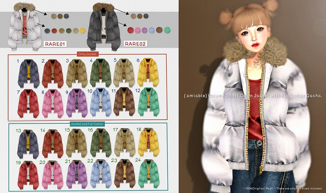 {amiable}Volume Short Down Jacket with Fur Collar Gacha@the  Liaison Collaborative Dec.