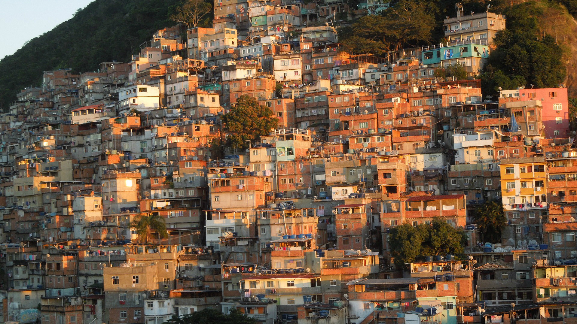 Houses stacked on the hillside in a Brazilian slum
