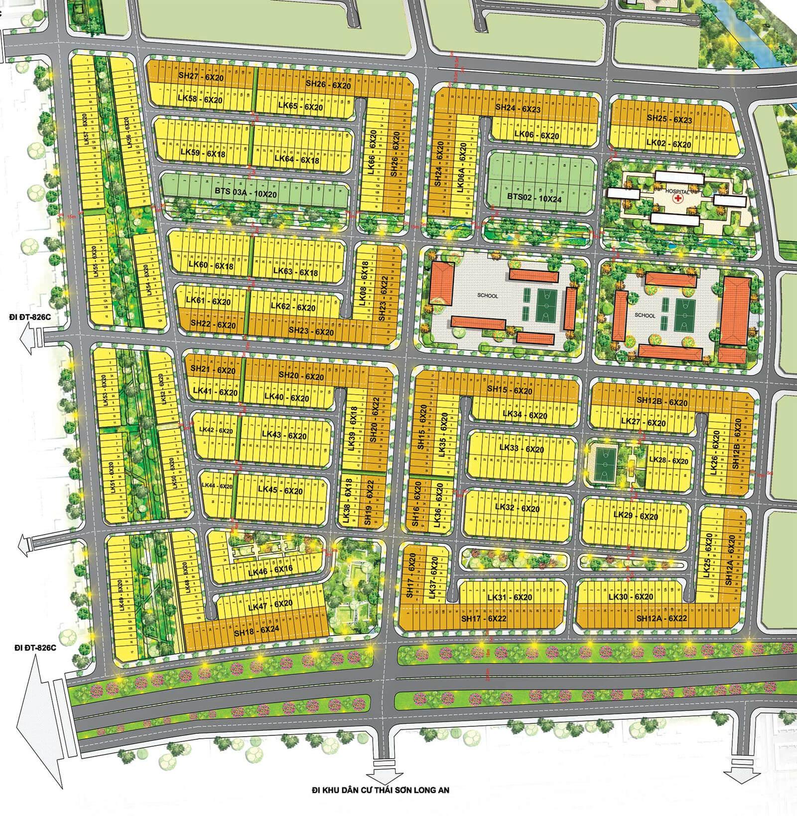 Bản đồ phân lô dự án T&T Millennia City Long Hậu.