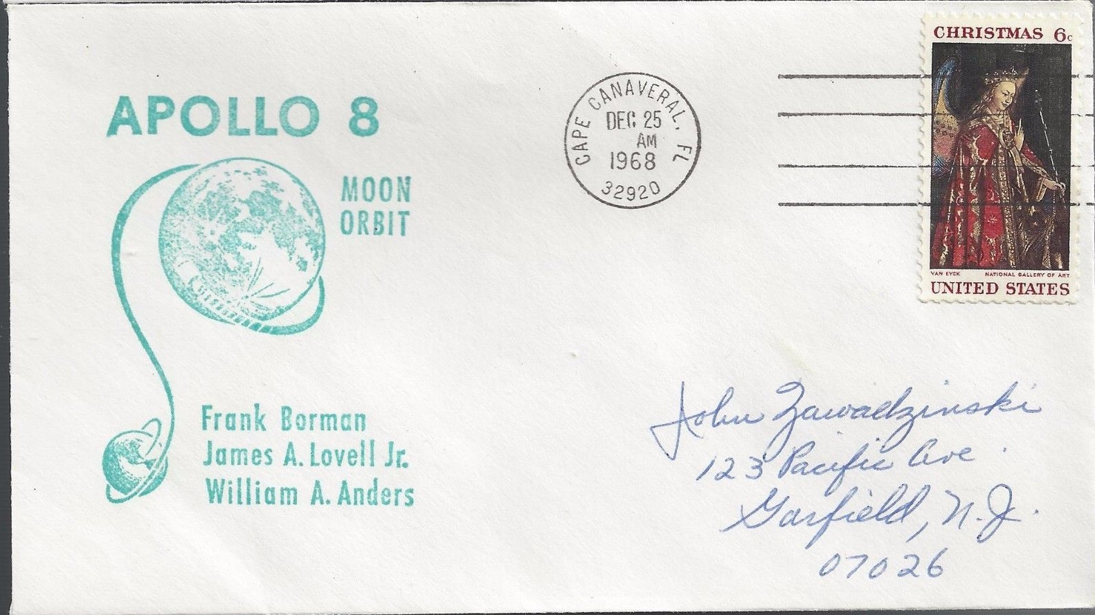 Commemorative cover marking Apollo 8's lunar orbit, posted at Cape Canaveral, Florida, on Christmas Day, December 25, 1968