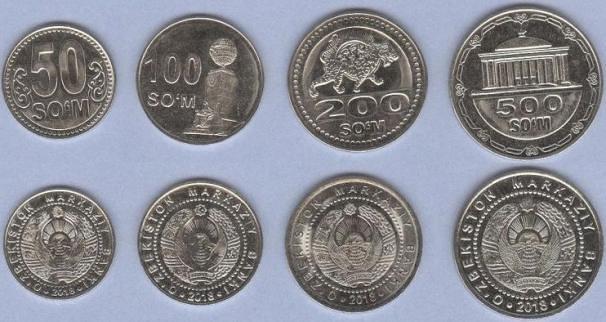 Uzbekistan 50-100-200-500 Som 2018 UNC, sada mincí
