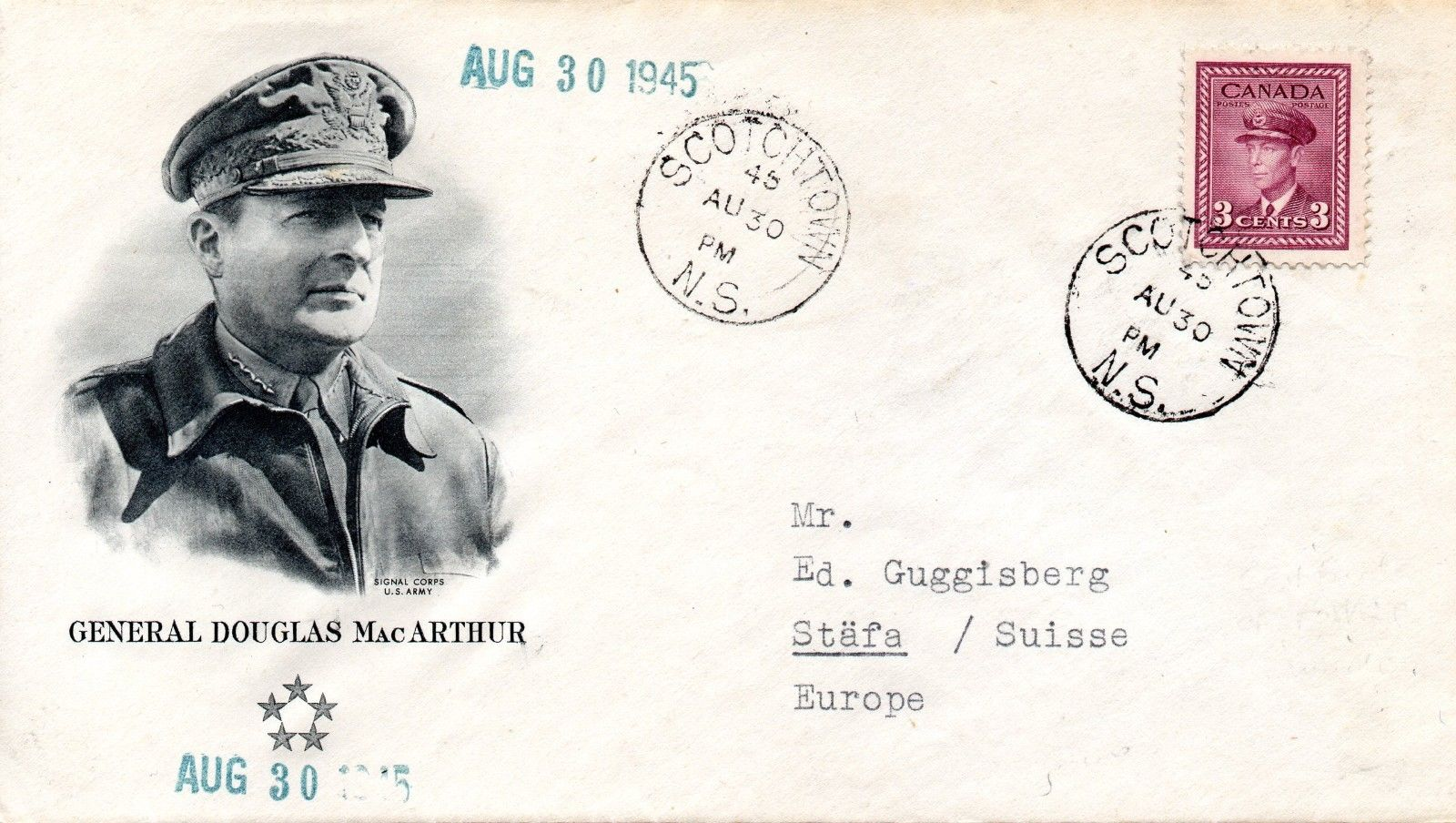 Patriotic cover with cachet picturing General Douglas MacArthur. Postmarked at Scotchtown, Nova Scotia, on August 30, 1945.