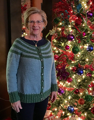 Natalie's Striped Yoke Cardigan by Lisa Clarke knit in Cascade 220 Superwash