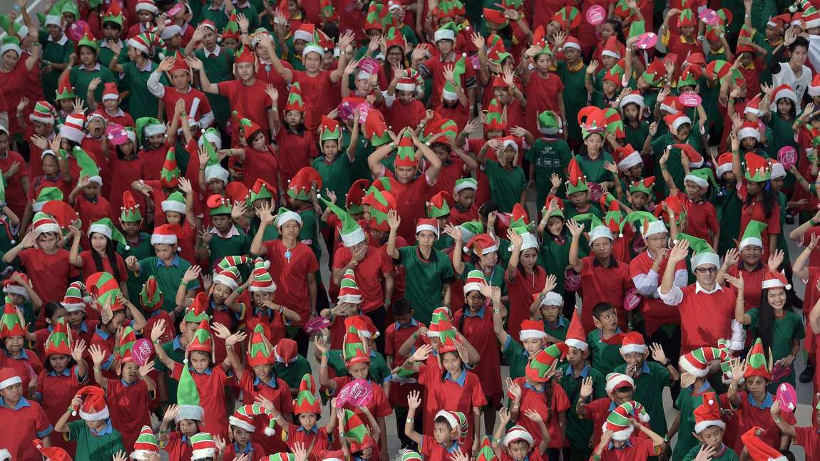 Christmas elves in Bangkok, Thailand, on November 25, 2014.