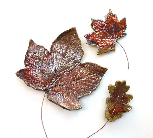 copper leaves wall art