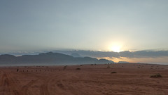 Rising sun over the Wadi Rum desert