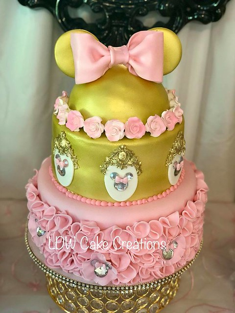 Gold Minnie Mouse Theme Cake by LDW Cake Creations, Downingtown PA