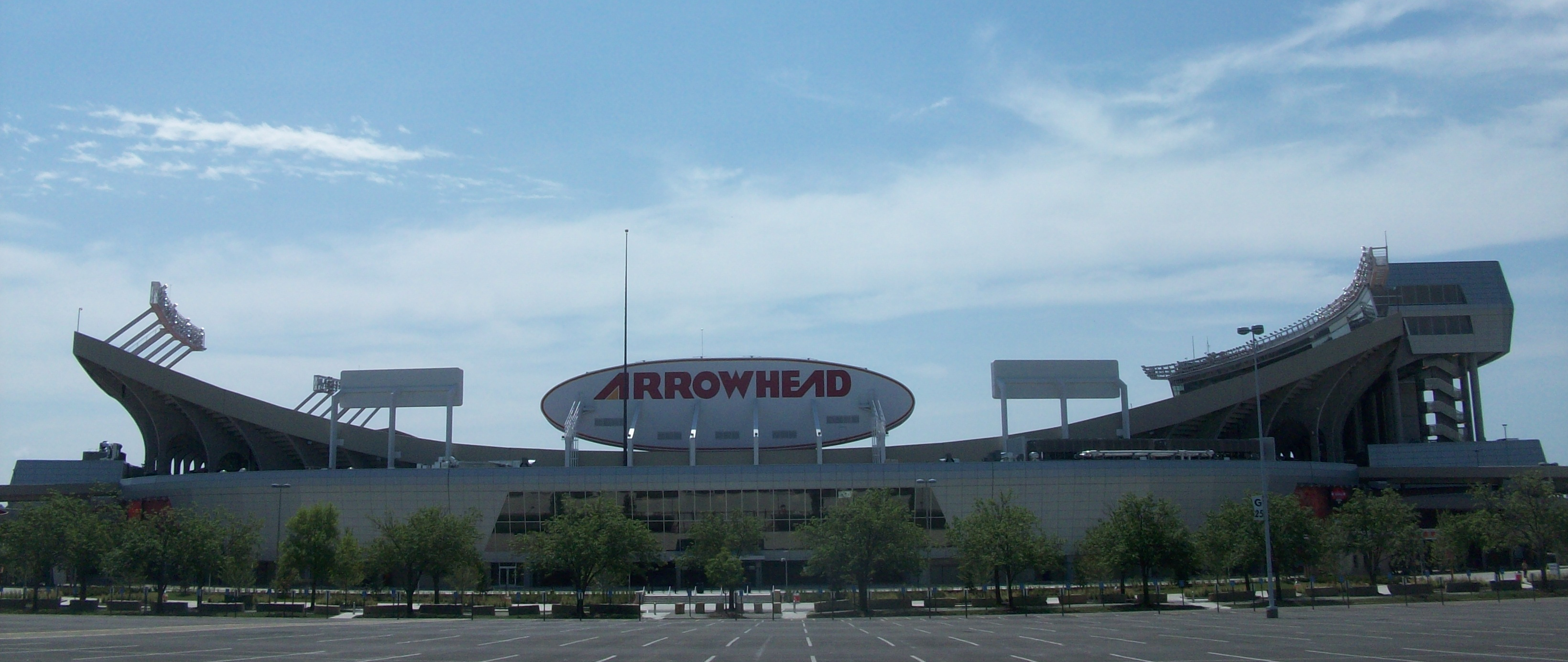 Exterior of Arrowhead Stadium on July 30, 2010, after the renovations were completed and unveiled.